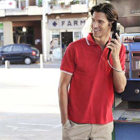 Polo shirt med kontrast striber